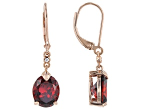 Red and White Cubic Zirconia 18k Rose Gold Over Sterling Silver Dangle Earrings 8.50ctw