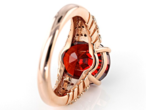 Red and White Cubic Zirconia 18k Rose Gold Over Sterling Silver Ring 8.79ctw