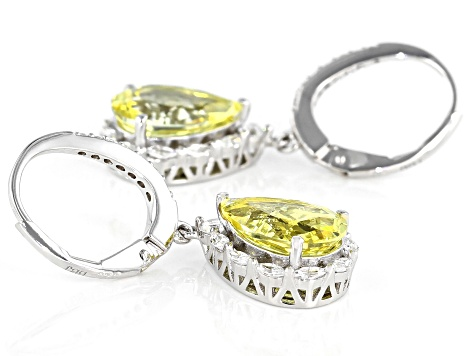 Yellow Sapphire And White Cubic Zirconia Rhodium Over Sterling Silver Earrings 9.02ctw
