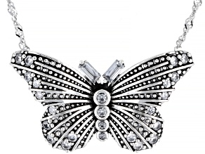 White Cubic Zirconia Rhodium Over Sterling Silver Butterfly Necklace 1.28ctw