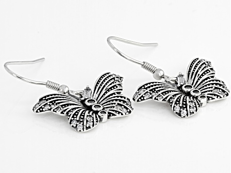 White Cubic Zirconia Rhodium Over Sterling Silver Butterfly Earrings 1.06ctw