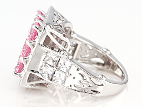 Pink and White Cubic Zirconia Rhodium Over Sterling Silver Ring 7.77ctw