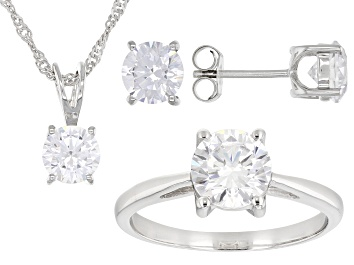 Picture of White Diamond Simulant Platinum Over Sterling Ring, Earrings, and Pendant With Chain Set 9.40ctw