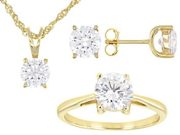 Picture of Cubic Zirconia 18k Yellow Gold Over Sterling Ring, Earrings, And Pendant With Chain