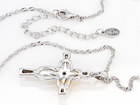 White Cubic Zirconia Rhodium Over Sterling Silver Cross Pendant With Chain 0.32ctw