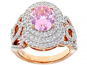 Pink and White Cubic Zirconia 18k Rose Gold Over Sterling Silver Ring 7.33ctw