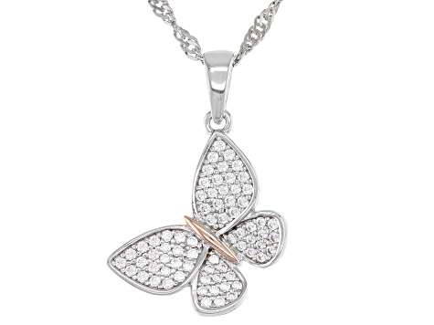 White Cubic Zirconia Rhodium Over Sterling Silver Butterfly Pendant With Chain 0.49ctw