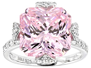 Pink and White Cubic Zirconia Rhodium Over Sterling Silver Ring 16.59ctw