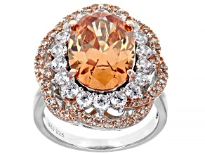 Brown and White Cubic Zirconia Rhodium Over Sterling Silver Ring 12.97ctw