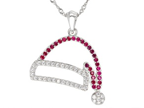 Red and White Cubic Zirconia Rhodium Over Sterling Silver Santa Hat Pendant With Chain 1.89ctw