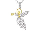 White Cubic Zirconia Rhodium Over Sterling Silver Angel Pendant With Chain 1.65ctw