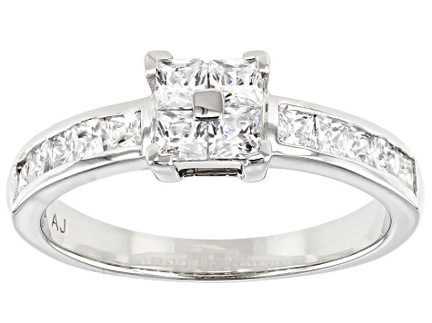White Cubic Zirconia Platinum Over Sterling Silver Ring 1.47ctw