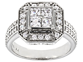 White Cubic Zirconia Platinum Over Sterling Silver Ring 1.82ctw