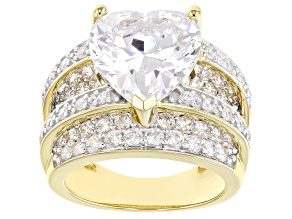 White Cubic Zirconia 18k Yellow Gold Over Sterling Silver Heart Ring 13.73ctw