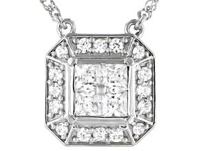 White Cubic Zirconia Platinum Over Sterling Silver Necklace 1.44ctw