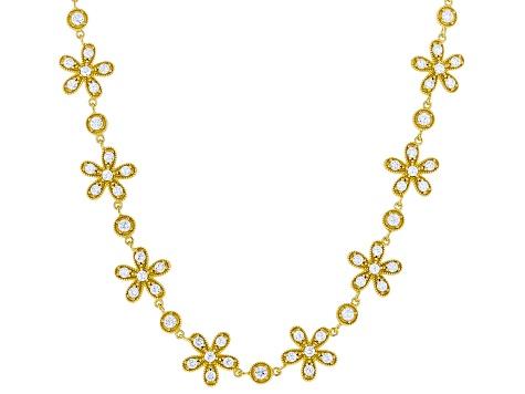 White Cubic Zirconia 18k Yellow Gold Over Sterling Silver Flower Necklace 14.31ctw