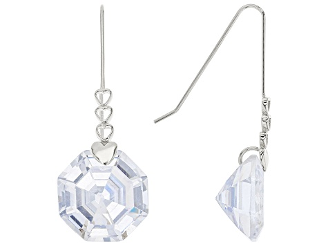 White Cubic Zirconia Rhodium Over Sterling Silver Solitaire Dangle Earrings 30.66ctw