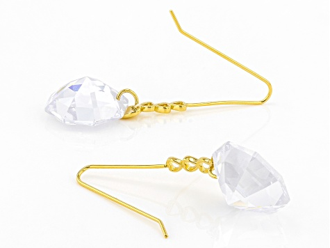 White Cubic Zirconia 18K Yellow Gold Over Sterling Silver Dangle Earrings 30.66ctw