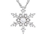 White Cubic Zirconia Rhodium Over Sterling Silver Snowflake Pendant With Chain 0.90ctw