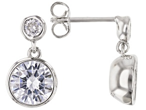 White Cubic Zirconia Rhodium Over Sterling Silver Dangle Earrings 4.98ctw