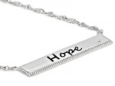 White Cubic Zirconia Rhodium Over Sterling Silver Hope Necklace 0.01ctw