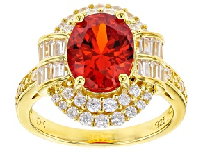 Orange And White Cubic Zirconia 18k Yellow Gold Over Sterling Silver Ring 6.81ctw