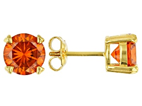 Orange Cubic Zirconia 18k Yellow Gold Over Sterling Silver Stud Earrings 6.66ctw