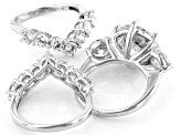 White Cubic Zirconia Rhodium Over Sterling Silver Ring With 2 Bands 19.85ctw