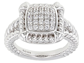 Picture of White Cubic Zirconia Rhodium Over Sterling Silver Ring 0.65ctw