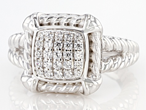 White Cubic Zirconia Rhodium Over Sterling Silver Ring 0.65ctw