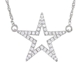 White Cubic Zirconia Rhodium Over Sterling Silver Star Necklace 1.11ctw