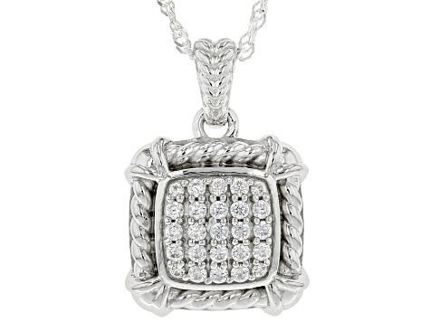 White Cubic Zirconia Rhodium Over Sterling Silver Pendant With Chain 0.67ctw
