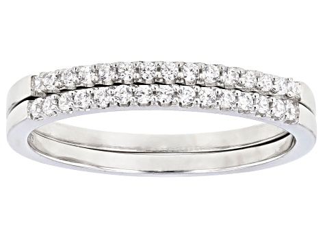 White Cubic Zirconia Rhodium Over Sterling Silver Ring Set of 2 Bands 0.47ctw