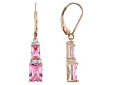 Pink and White Cubic Zirconia 18k Rose Gold Over Sterling Silver Earrings 7.02ctw