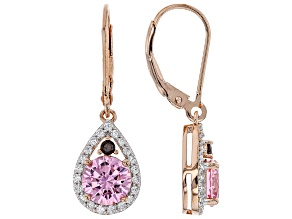 Pink, Mocha, and White Cubic Zirconia 18k Rose Gold Over Sterling Silver Earrings 4.52ctw