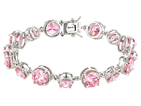 Pink Cubic Zirconia Rhodium Over Sterling Silver Bracelet 41.23ctw