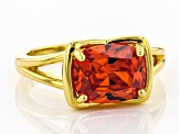 Orange Cubic Zirconia 18k Yellow Gold Over Sterling Silver Ring 5.00ctw
