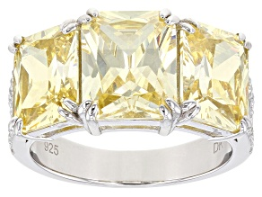 Yellow and White Cubic Zirconia Rhodium Over Sterling Silver Ring 9.42ctw
