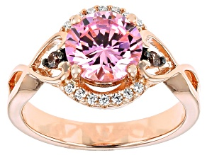 Pink, Mocha, and White Cubic Zirconia 18k Rose Gold Over Sterling Silver 3.25ctw