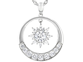White Cubic Zirconia Rhodium Over Sterling Silver Pendant With Chain 3.41ctw
