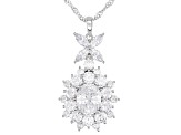 White Cubic Zirconia Rhodium Over Sterling Silver Pendant With Chain 12.55ctw