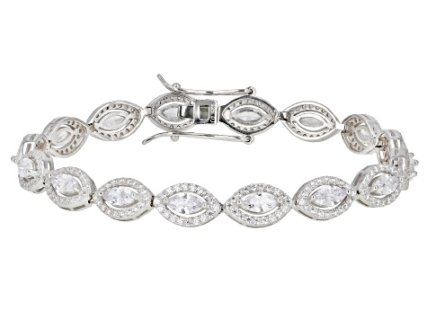 White Cubic Zirconia Rhodium Over Sterling Silver Tennis Bracelet 13.62ctw