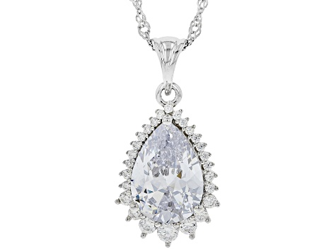 White Cubic Zirconia Rhodium Over Sterling Silver Pendant With Chain 9.80ctw