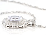 White Cubic Zirconia Rhodium Over Sterling Silver Pendant With Chain 6.39ctw