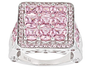 Pink Cubic Zirconia Rhodium Over Sterling Silver Ring 7.93ctw