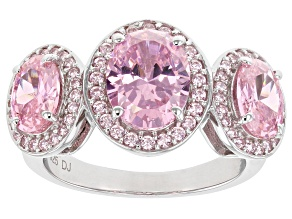 Pink Cubic Zirconia Rhodium Over Sterling Silver Ring 6.35ctw