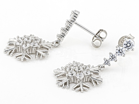White Cubic Zirconia Rhodium Over Sterling Silver Dangle Snowflake Earrings 3.08ctw