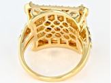 Mocha and White Cubic Zirconia 18k Yellow Gold Over Sterling Silver Ring 3.97ctw