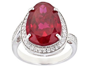 Red and White Cubic Zirconia Rhodium Over Sterling Silver Ring 11.92ctw