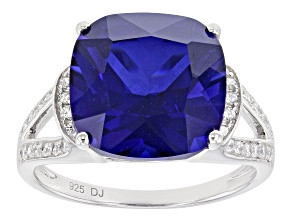 Blue And White Cubic Zirconia Rhodium Over Sterling Silver Ring 9.25ctw